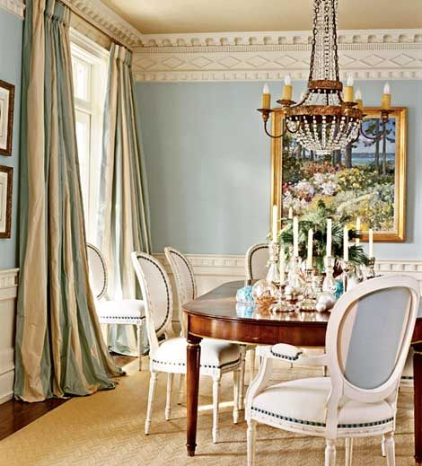 Ornate Crown Molding And Dramatic Silk Draperies Are The Final Elegant  Touches On This Formal Dining