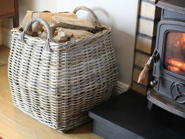 Tapered Log Basket For Log Storage - GT #basket