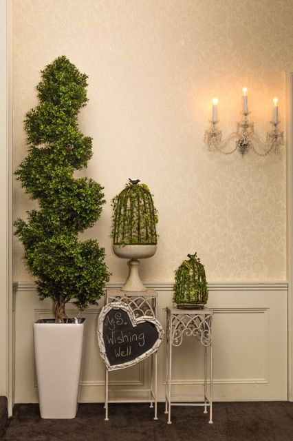 Topiary tree & bird cage wishing well idea @dunbarhouse for an engagement celebration