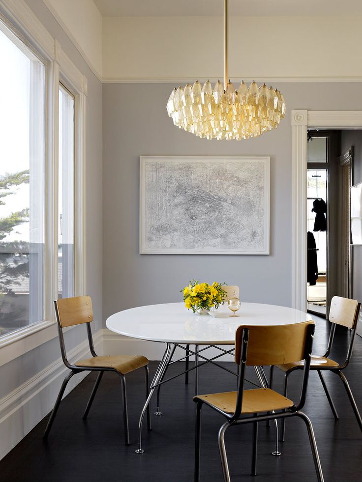 carlo scarpa chandelier/kartell dining table/french 1950s school chairs/marsha cottrell art | henry urbach + stephen hartman #sf