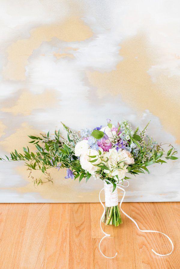 wedding bouquet - photo by Mikkel Paige Photography http://ruffledblog.com/serenity-and-rose-quartz-wedding-inspiration