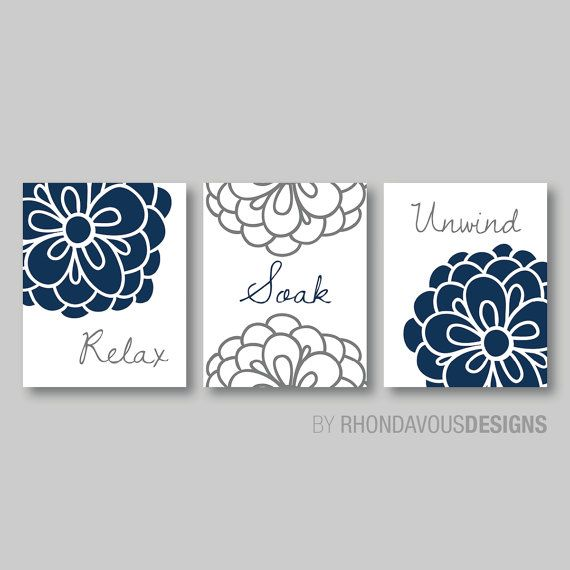 floral relax soak unwind print trio bathroom home decor wall bathroom art flower bathroom navy blue and dark gray grey
