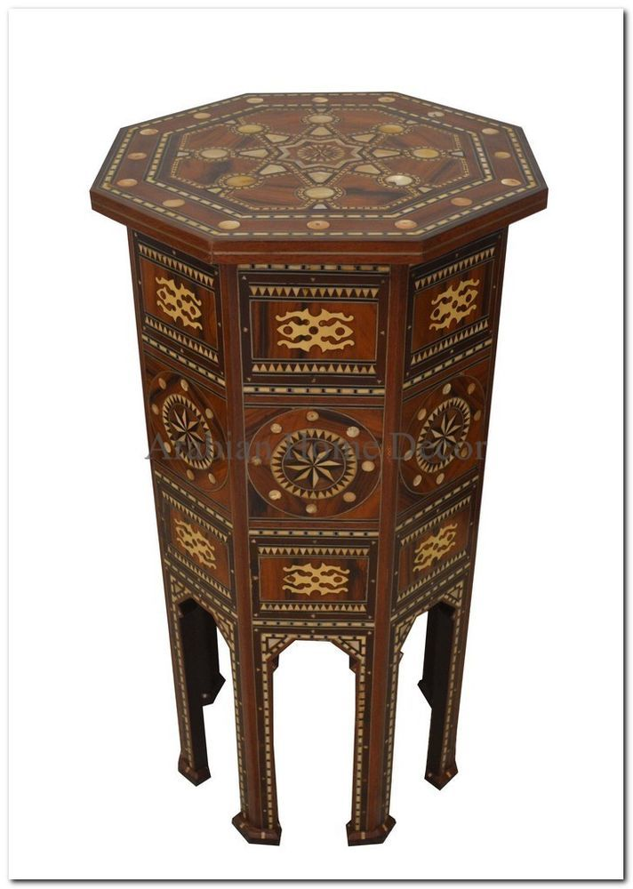 Unique Turkish Ottoman Moroccan Mother Of Pearl Inlaid Wood Side Coffee Table Mother Of Pearls