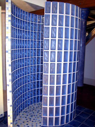 Glasbaustein Runddusche Badezimmer Glass Block Shower Bathroom
