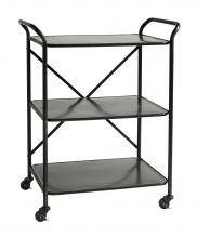 TROLLEY Iron table w. 3 shelves, black