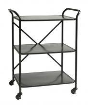 TROLLEY Iron table w. 3 shelves, black