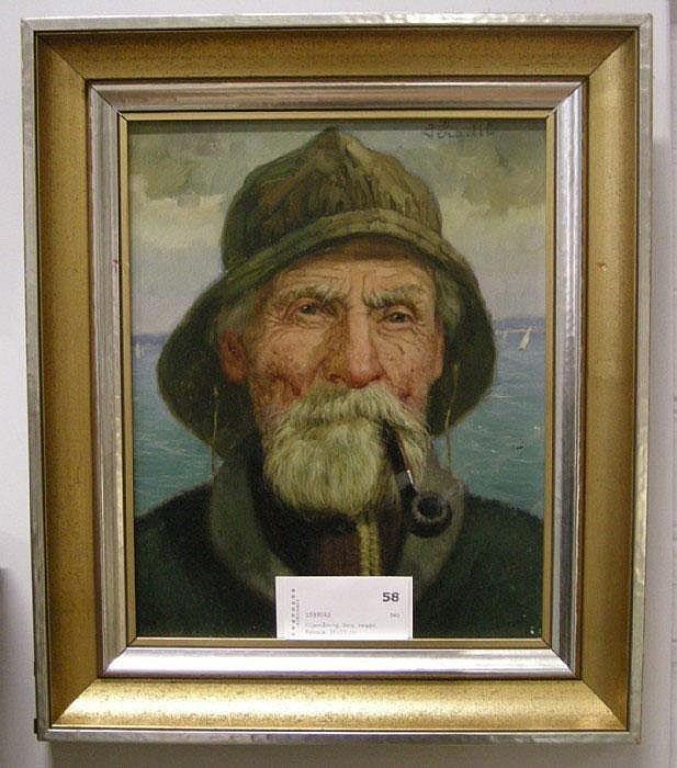 Oljemålning, Bela, Hradil, Fiskare, 28x23 cm