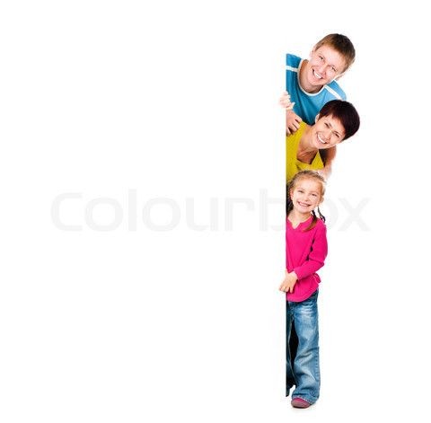 Image of 'family behind a blank' on Colourbox