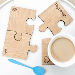Personalised wooden we fit together jigsaw coaster set