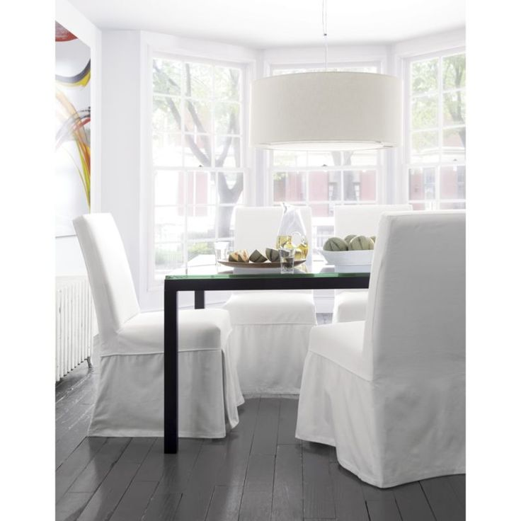 White Slipcover Only For Slip Side Chair Glass Dining