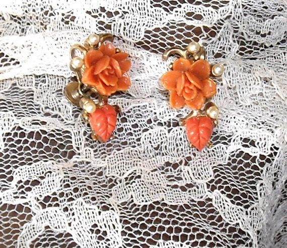Vintage Celluloid Coral Rose Earrings screw back by designfrills, $8.00