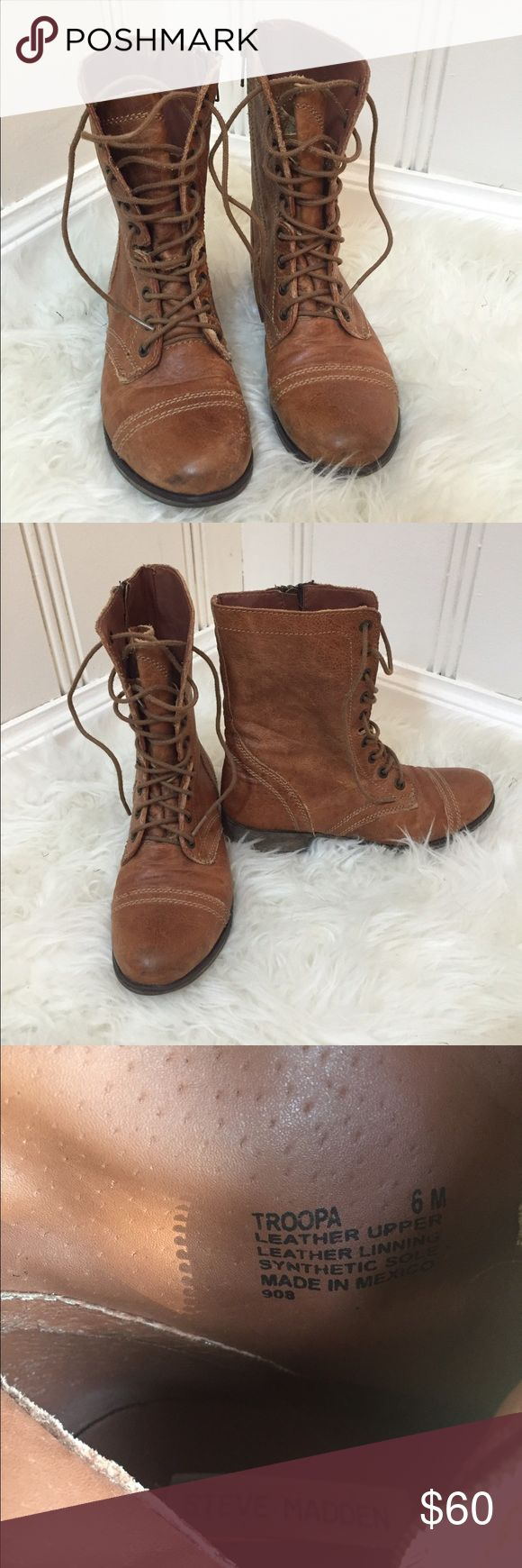 Steve Madden Troopa Combat Boots Distressed brown leather combat boots. Awesome for fall 2016 (combat boots are in trend this fall). Comfortable, EUC. Open to offers 💕.     🚫 No Trades  👍🏼 Open to offers & bundles  ✈️ Always shipped quickly after ordered 💕 EUC (always 💖) Steve Madden Shoes Combat & Moto Boots