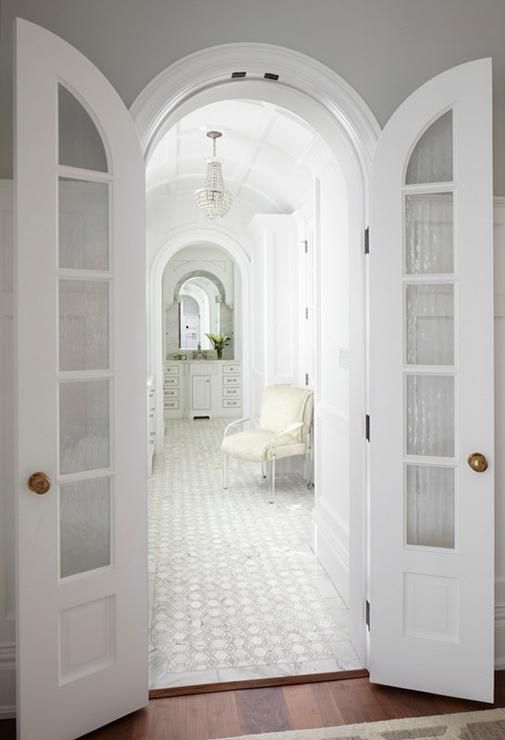 Master Bathroom with Arched Bi Fold Doors, Transitional, Bathroom. Perfect for the Master bedroom/ bath archway situation.