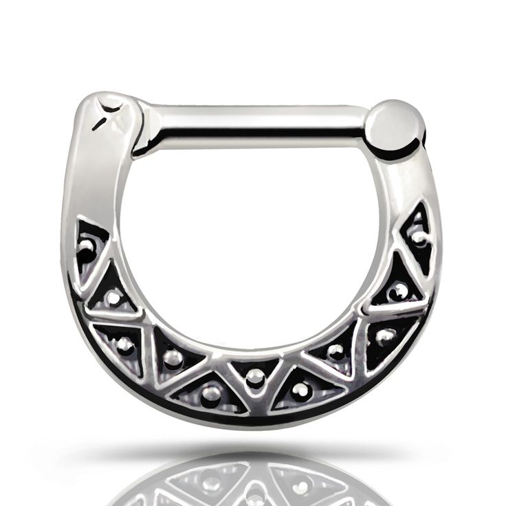 Septum clicker Nose Cuff  Ring 316L Stainless Steel Black Septum Clicker Hinged Triangle Nose Ring Jewelry Gauges Nose Piercing