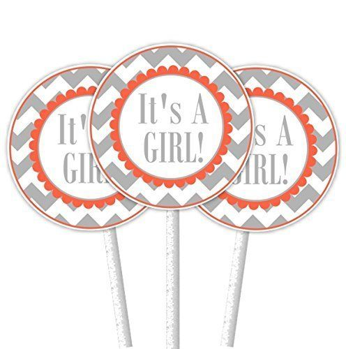 Gray and Coral Chevron It's A Girl Cupcake Toppers. ~ 24 cupcake toppers on 4.5 inch cupcake sticks. The tags on the toppers are 2 inch round and come printed on bright white premium card-stock. They come double-sided, attached securely to a white cupcake stick - ready to use in your cupcakes!.