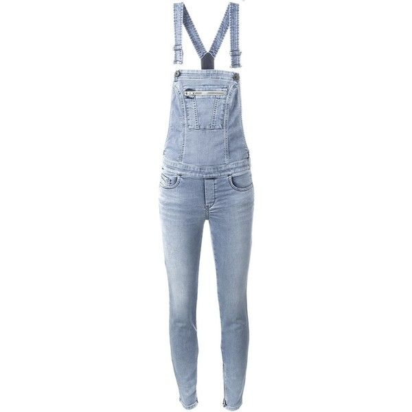 Diesel Skinny Jeans Overall Jumpsuit (285 CAD) ❤ liked on Polyvore featuring blue