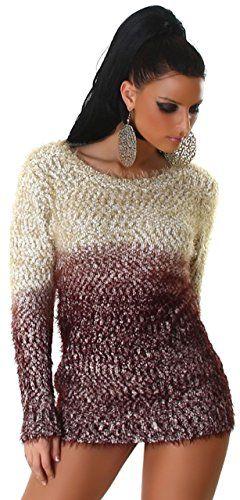 Jela London Damen Pullover flauschig mit Farbverlaub Einheitsgröße (34-40), beige