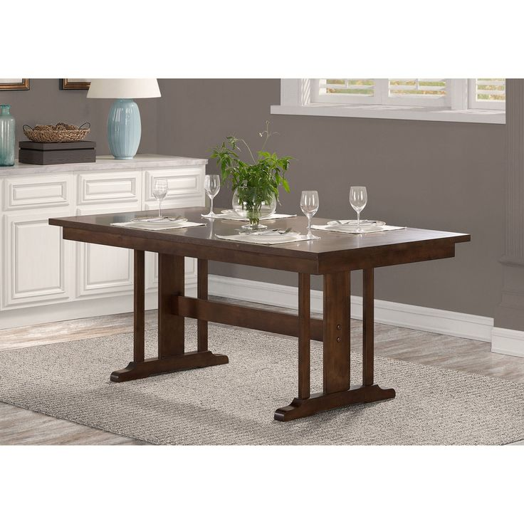 Mission Wood Trestle Table Brown Walnut TableDining Room TablesFurniture OutletOnline