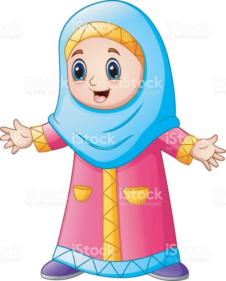 Happy muslim girl cartoon isolated on white background illustrazione royalty-free