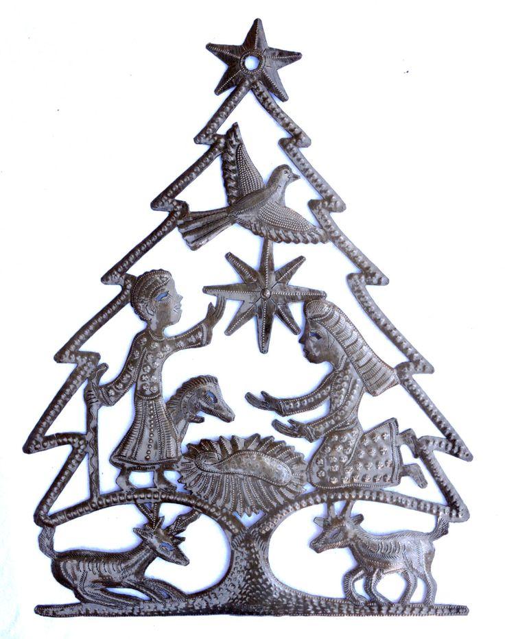 "Christmas Tree Nativity, Recycled Steel, Haiti Metal Wall Art 17"" x 13"" Spirituality & Religion by ArtUnderTheTree on Etsy"