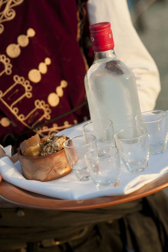 Zivania - a traditional aperitif usually served with dried fruit and nuts