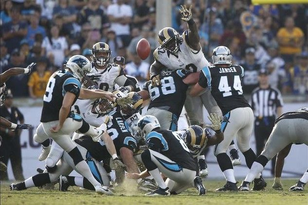 Panthers vs. Rams:  13-10, Panthers  -   Graham Gano  -  Panthers kicker Graham Gano hits a 37-yard field goal to give Carolina a 13-3 lead over the Rams midway through the fourth quarter.