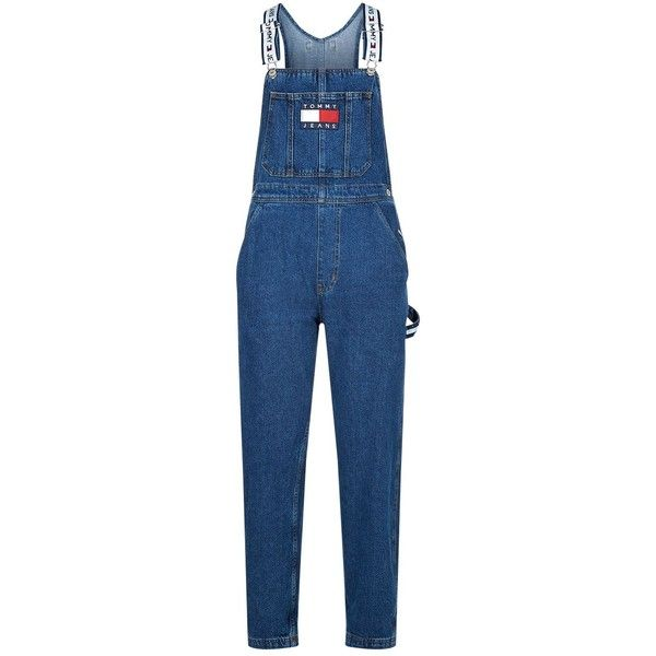 Tommy Jeans Denim Dungarees ($185) ❤ liked on Polyvore featuring jumpsuits, tommy hilfiger, blue denim jumpsuit, blue jumpsuits, denim jumpsuits and oversized jumpsuit