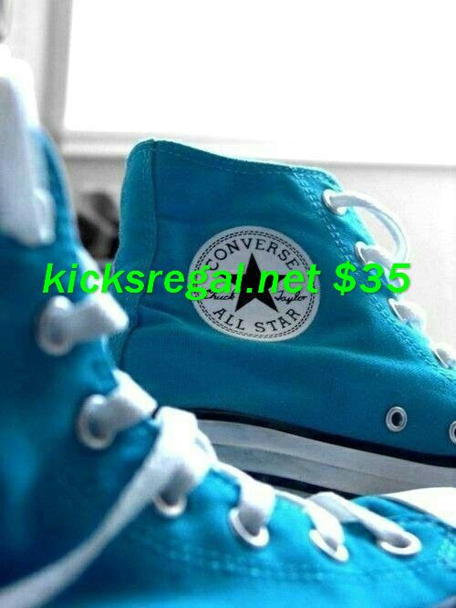 Blue Converse ... Don't usually find the high tops so nice, but sassy here :)     #cheap #converse #outfit for #Girls