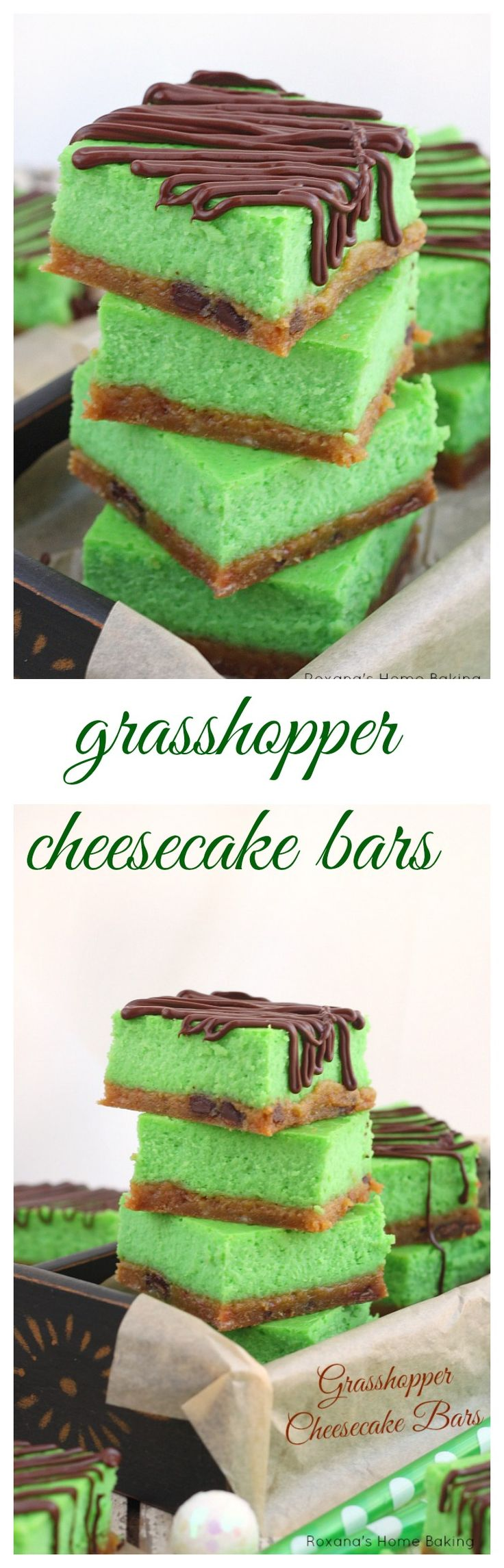 Easy and refreshing grasshopper cheesecake bars with a minty chocolate chip cookie crust, smooth cheesecake and chocolate drizzles. Make them for your holiday table or to enjoy on a hot summer day