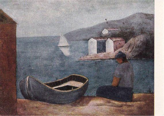 "Carlo Carra ""Boatman"" Postcard -- 1967, Soviet Artist Publ."