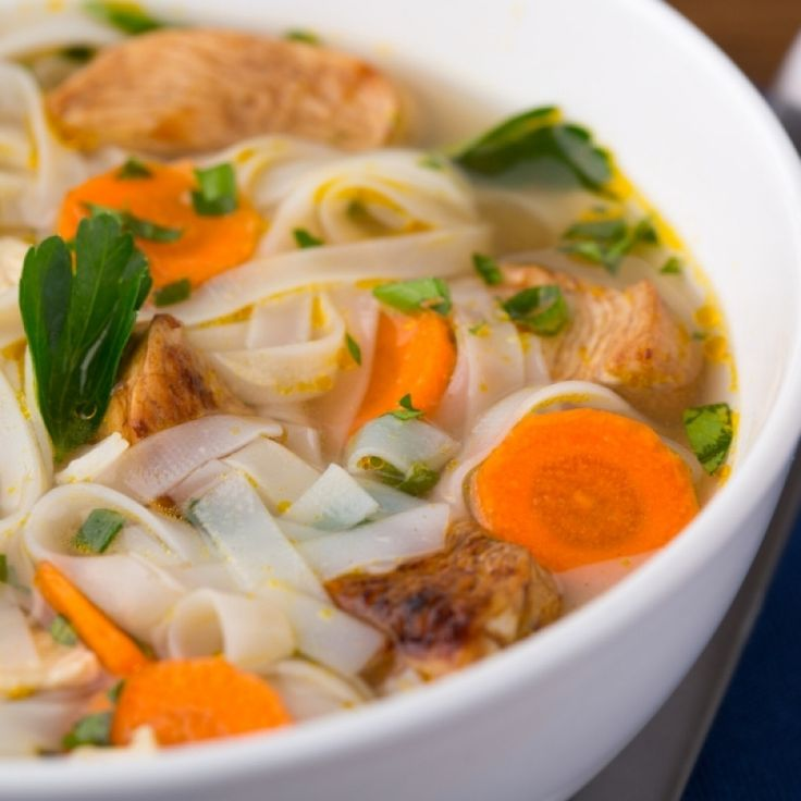 Wide Rice Noodle Chicken Soup