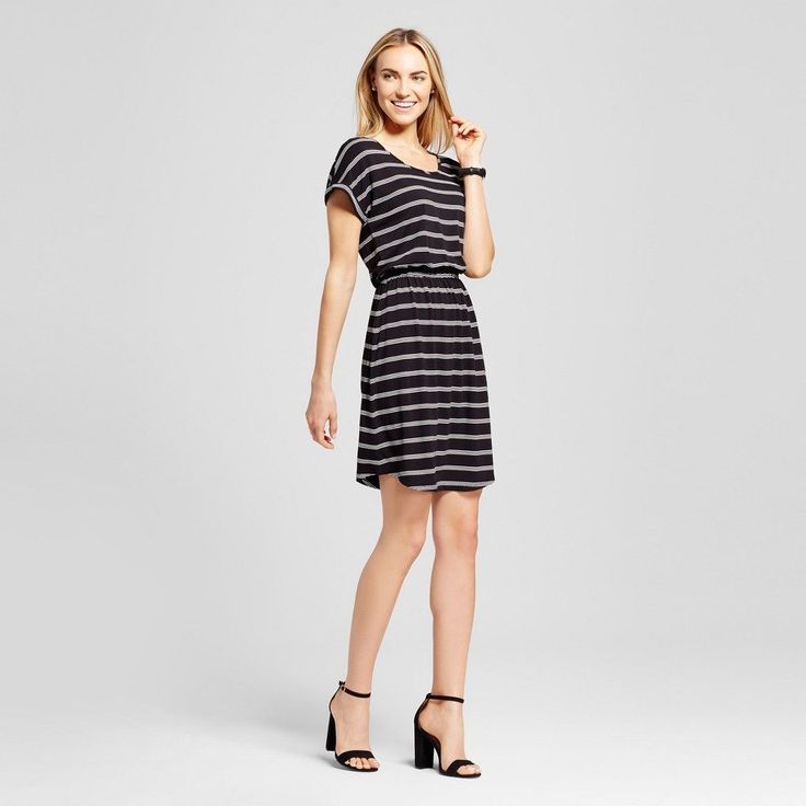 Women's Striped Short T-Shirt Dress Black-Sour Cream S - Merona, Black