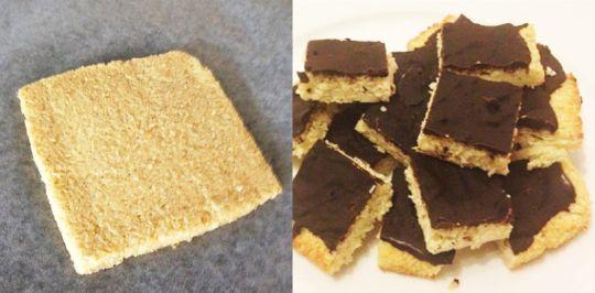 Kokosrutor med mörk choklad 25 gram smält smör eller kokosfett 1 ägg 100 gram kokosflingor 1 krmvaniljpulver Mörk choklad >80% Sätt ugnen på 175 grader. Smält smöret/oljan och låt svalna. Vispa upp ägget. Blanda ägg, smält smör, kokos och vaniljpulver. Bred ut en kvadrat på ca 15×15 cm. Grädda i 10-15 minuter. Låt svalna. Smält några rutor mörk choklad och bred på. Ställ in i kylen och låt stelna ca 20 min. Skär i bitar. Enjoy!