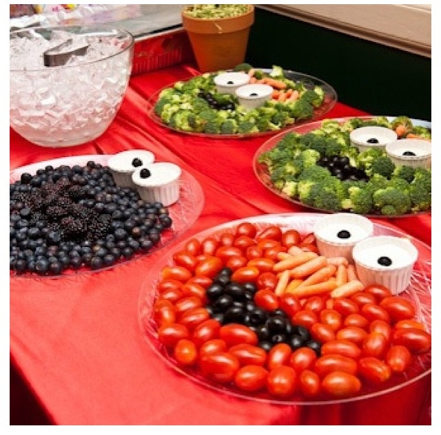 How cool is this to get your children to want to eat their veggies! Tomato Elmo, Blueberry Cookie Monster and Broccoli Oscar the Grouch! Party's or Play Dates...kids to grown ups.