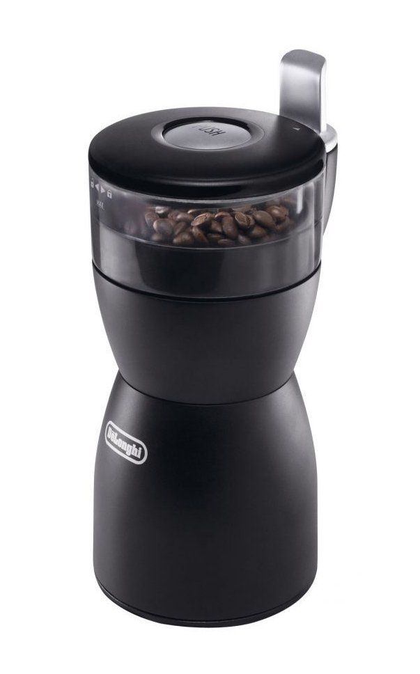 Coffee KG40 Grinder by DeLonghi. Push to grind system, coffee grinder with stainless steel blades, removable transparent container, easy to use coffee grinder, and rubber feet for the unit to stay in place. http://www.zocko.com/z/JJyyB