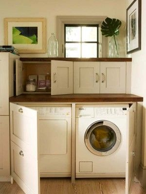 "There are ""Loads"" of good ideas.  Small Laundry Room Design Ideas-13-1 Kindesign"