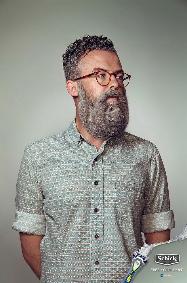 A Razor Brand is Trying to Dispel the 'Sexy Beard' Myth with Ads Showing Rodents Clinging to Men's Faces