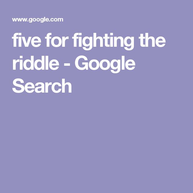 five for fighting the riddle - Google Search