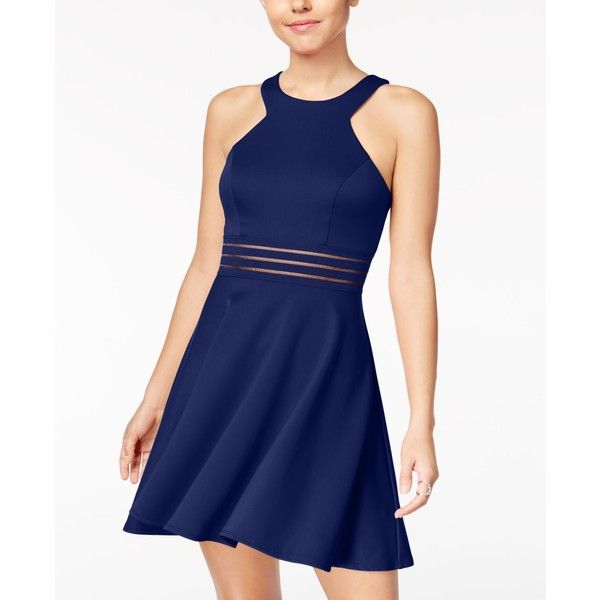 69cf38d66 City Studios Juniors' Illusion-Waist Scuba Fit & Flare Dress ($59) ❤ liked  on Polyvore featuring dresses, navy, rock dress, city studio dress, navy fit  and ...