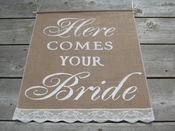Large Here Comes Your Bride Sign  Rustic by BridesandBellas, $29.00