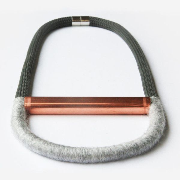 An Adorn Milk Staff favorite! Handmade statement necklace. COLORS Beige/soft pink Dark gray/light gray MATERIAL Copper, rope and wool MORE INFO This item is made to order, so please allow 2-3 weeks fo