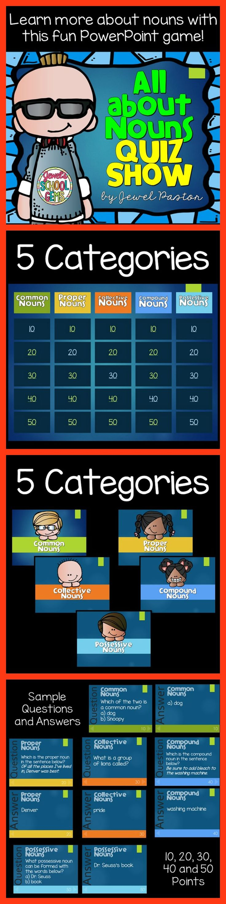 "NOUNS: ALL ABOUT NOUNS QUIZ SHOW  ""ALL ABOUT NOUNS QUIZ SHOW"" is a PowerPoint resource that can be used to test students' general knowledge or understanding of nouns before and after a lesson on nouns. This 61-page resource on nouns contains a cover, a categories and points board, 25 questions, 25 answers, credits and terms of use.  Students learn about nouns the fun way by using this PowerPoint resource. This resource can be used as a warm up, an icebreaker or a review activity."