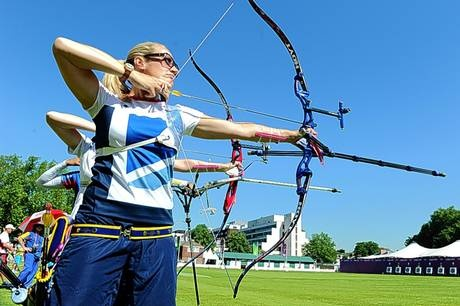 Take a bow: Alison Williamson practises for her event at Lord's cricket ground