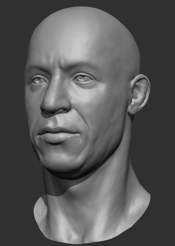 3docean Vin Diesel Head Sculpt 2657620 3d Pinterest