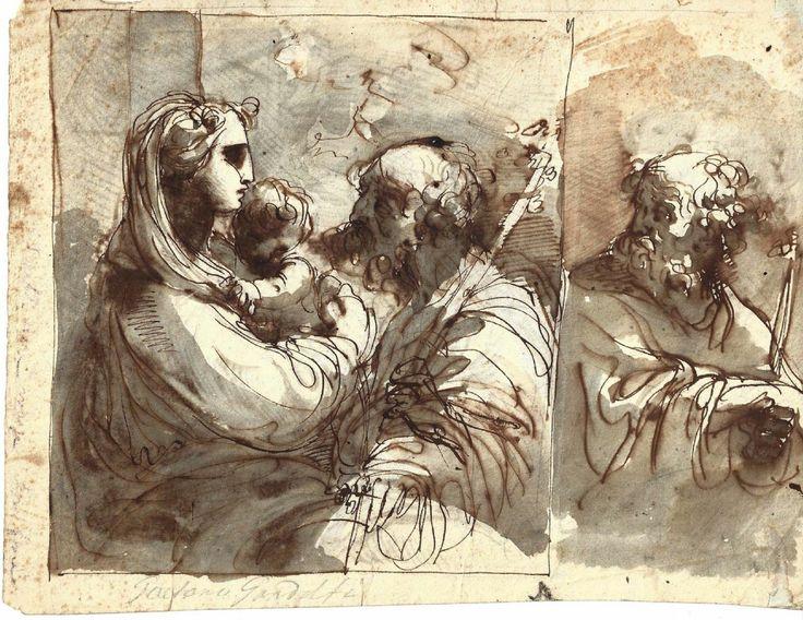 Ubaldo Gandolfi (1728–1781), Sacra Famiglia e Studio di profilo maschile; penna inchiostro bruno, acquerellature di inchiostro bruno e grigio.