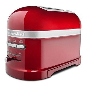 "KitchenAid Candy Apple Red Pro-Line Toaster: Also know as the ""Mother of all Toasters"" in several market places, the KitchenAid Candy Apple Red Pro-Line Toaster is a high-end device that comes with even the most least expected features you have in your mind. In addition to the sleek, glossy design, the toaster comes with a host of features like ""keep warm mode"""