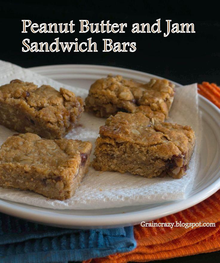 Grain Crazy: Peanut Butter and Jam Sandwich Bars