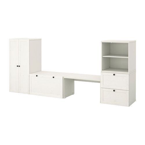STUVA Storage combination with bench - white stain  - IKEA kids storage.  Possibly Use open shelf as doll house, use geometric cushion on storage bench.  Leave out tall cabinet and use the open shelf next to stool as small art table.  Hang paper on wall above it along with art supplies.