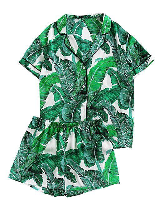 ac98036b7577 Floerns Women s Notch Collar Shorts Loose Sleepwear Two Piece Pajama Set  Green S