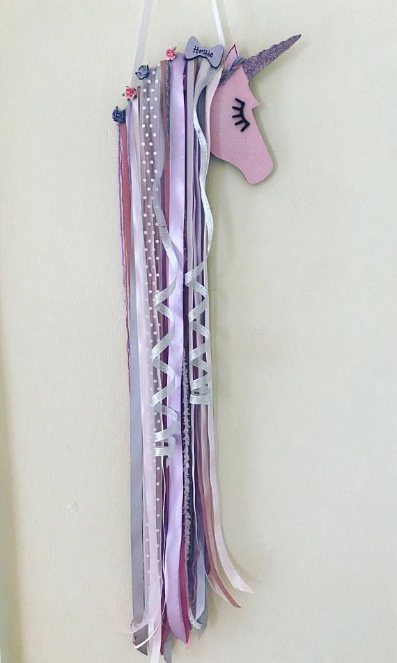 Personalised Unicorn wall hanger/ bow holder with sparkle finish, can be created in any colours Personalised Unicorn wall hangers measuring approx 50cm.. can be done in any colours.. with or without sparkle To view our range of unicorn heads click the link http://etsy.me/2hYCLZo If you would like your unicorn head the same as the one in the picture select same as picture from the drop down menu...If you would like a custom order select custom order from the drop down men...